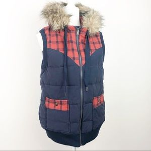 Quicksilver Flannel Lined Plaid Hooded Vest NWOT